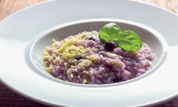 Risotto de mirtilos